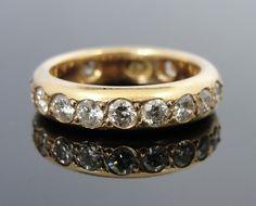 Antique Heavy Gold Band with Fine Diamonds Flush Set Inlay, 14k Gold Fine  RGDI625D. $1,785.00, via Etsy.