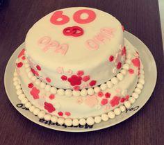 60 jarig huwelijk taart / stapeltaart  Wedding 60 years, flowers, fondant cake
