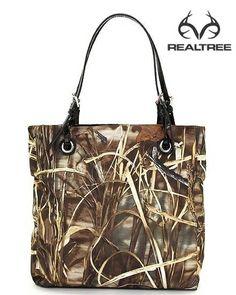 Realtree Max-4 camo and Faux Leather Tote Purse Handbag #realtreecamo #camohandbags