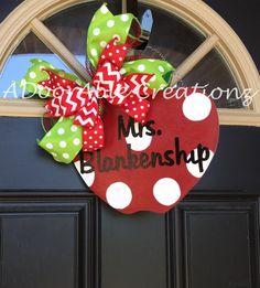 Personalized Teacher Door Hanger, Apple Door Hanger or Pencil Door Hanger. Teacher Gift Give your favorite teacher the perfect addition to