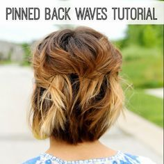 Short Hair Style Tutorial- Pinned Back Waves (I like the color too)