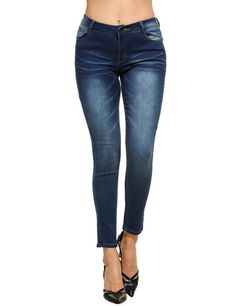 Blue Women Casual Low Waist Denim with Pockets Jeans