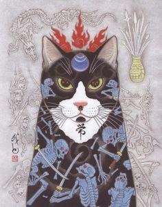 Kazuaki Horitomo Kitamura - Monmo.. Art And Illustration, Japanese Illustration, Illustrations, Tattoo Gato, Cat Tattoo, Asian Artwork, Japan Painting, Japanese Cat, Asian Tattoos