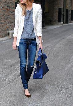 2013 Zara jacket (old), J Crew tweed tee, Rag & Bone jeans, 3.1 Phillip Lim bag, J Crew heels,