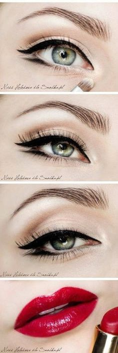 DOUBLE LINER -- a slight smudge on the lower lash line that is winged out as the top is. Makes your eyes look really big and further apart (perfect for small and close-set eyes)
