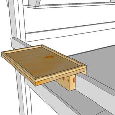 It's really difficult to find a six foot tall night stand to hold your telephone, alarm clock, and other items beside your loft bed. This easy to build shelf simply fits over the guard rail of your OP Loftbed loft bed or bunk bed and can be easily slid to Bed Shelves, Built In Shelves, Bunk Bed Shelf, Murphy-bett Ikea, Bunk Bed Designs, Murphy Bed Plans, Kids Bunk Beds, Loft Beds, Diy Bed