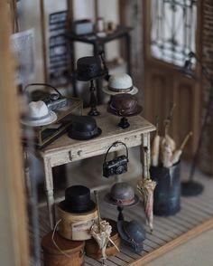 "A peak inside a miniature ""Antique"" Men's Hat Store in scale By Petipetit Miniature Furniture, Dollhouse Furniture, Mens Hat Store, Diy Dollhouse, Dollhouse Miniatures, Miniature Photography, Diorama, Tiny Treasures, Mini Things"