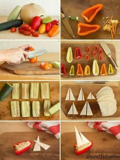 DIY Tutorial: Veggie Boats, Nautical Party Food - Concept + Photos + Styling by Alexis Birkmeyer Cute Food, Good Food, Yummy Food, Healthy Food, Tasty, Kreative Snacks, Nautical Party, Nautical Food, Food Concept
