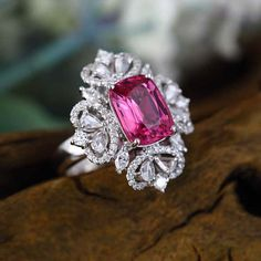 Pink Tourmaline - Engagement Ring (4.6 Carat Pink Tourmaline, 1.3 Carat Diamond, and 14k White Gold)