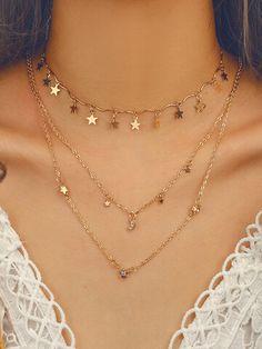 Good Luck Necklace, Evil Eye Necklace, Moon Necklace, Necklace Hanger, Necklace Ideas, Necklace Chain, Cute Jewelry, Silver Jewelry, Women Jewelry