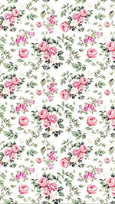 Background, nature, flowers, green, pink, pattern | 📱 Free Wallpapers
