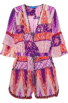 Love this for a night outEscape printed silk playsuit #playsuit #covetme #matthewwilliamson