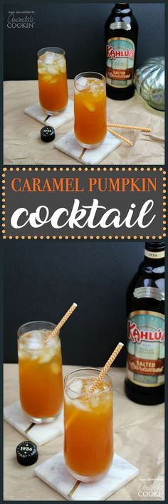 This Caramel Pumpkin Cocktail is a delicious way to enjoy all of your favorite fall flavors like caramel and pumpkin, in one icy cocktail!