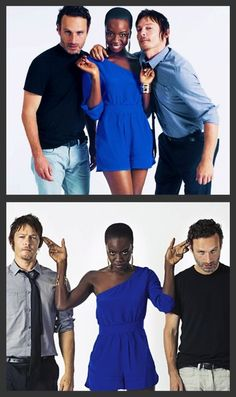 Andrew Lincoln, Danai Gurira, & Norman Reedus-----uhmmmm....attracted to everyone in this photo.