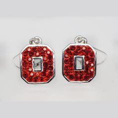 Sterling Silver & Red Swarovski Crystal Block O Letter Earrings With Hand Set Swarovski Crystals And Dangling Lever Backs