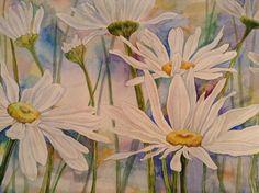 Купить Полевые ромашки - акварель, акварельная картина, акварельная живопись, акварельный рисунок, акварельные цветы