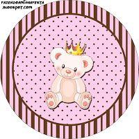 """Imprimés Thème """"Reine Ourson"""" - Rose & marron : http://fazendoanossafesta.com.br/2013/08/ursinha-princesa-kit-completo-com-molduras-para-convites-rotulos-para-guloseimas-lembrancinhas-e-imagens.html/"""