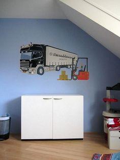 """Jack de trucker """" <b>Muurschilderingen Kinderkamer</b> Muurdecoraties ..."""
