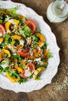 Ultra Creamy Hemp Salad Dressing (nut-free, oil-free) + Delicata Squash Salad