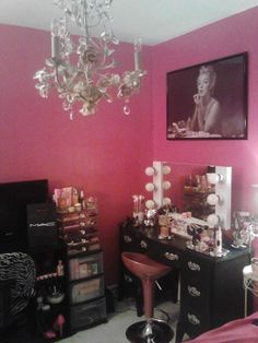 Jennifer W. Via Facebook :: This vanity room is just so so good. Chandelier + pink walls + Marilyn + our white starlet = a gorgeously girly space $299 www.VanityGirlHollywood.com