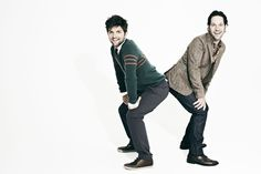 BFFs Adam Scott and Paul Rudd...what I wouldn't do to squeeze in there...