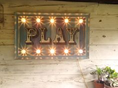 Light up 'Play' Sign. fairground lights/circus lights/marquee lights/vintage sign/retro sign/carnival lights/wall light/circus sign