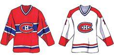 1974-2007 Le lacet au col disparaît pour de bon et les chandails sont plus amples pour dissimuler les pièces d'équipement devenues plus imposantes. Les noms des joueurs sont ajoutés en 1977-1978. En 2003-2004, les Canadiens de Montreal inaugurent une version moderne des chandails blanc et rouge de 1945 et 1946, pour certains matchs, en guise de rappel de deux modèles d'époque. Go Habs Go !!