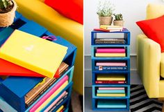 Easy DIY Pallet Projects for the Home - DIY Pallet Bookshelf - not a bad idea for book storage in small space. Diy Craft Projects, Diy Pallet Projects, Diy Home Crafts, Home Projects, Craft Ideas, Bookshelf Table, Cool Bookshelves, Cool Diy, Fun Diy