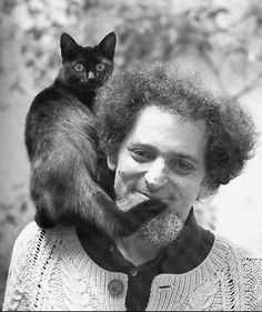 Georges Perec and a black cat. I Love Cats, Crazy Cats, Cool Cats, Crazy Beard, Patricia Highsmith, Celebrities With Cats, Men With Cats, Animal Gato, Son Chat