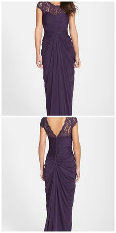 The perfect mother-of-the-bride dress for a wedding! The back lace detail is so beautiful and the draping compliments any body type and is so flattering. The purple/aubergine color and floor-length gown are a lovely combo for a floor-length gown.