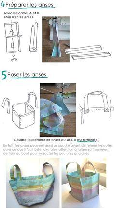 Tuto très simple et détaillé (explications, dessins et photos) pour faire un sac cabas à partir d'un torchon