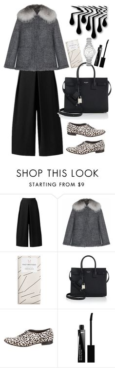 """""""Andrew Gn Grey Tweed Jacket With Fur Collar"""" by thestyleartisan ❤ liked on Polyvore featuring Andrew Gn, Yves Saint Laurent, Givenchy, Burberry, women's clothing, women, female, woman, misses and juniors"""