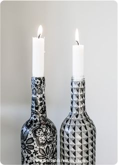 re-cycle bottles into gorgeous candle sticks