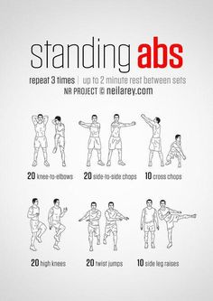 Standing Abs Workout - hmmm definitely worth a go! and it's good to do something… Mo Ab Workout Men, Abs Workout Routines, Ab Workout At Home, Workout Board, Workout Belt, Beginners Cardio, Standing Ab Exercises, Standing Abs Workout, Lower Ab Workouts