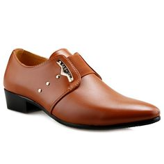 Trendy Metal and Elastic Band Design Men's Formal Shoes #Men #Shoes #fashion #style