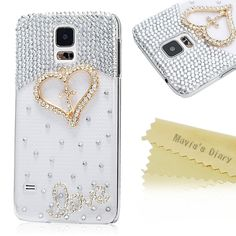 Amazon.com: Mavis's Diary Luxury 3D Handmade Crystal Heart Rhinestone Bling Clear Case Cover for Samsung Galaxy S5 I9600 with Soft Clean Cloth (Heart with Cross): Cell Phones & Accessories