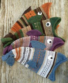 Selkie's Living Fishie Hats - perfect for left-over yarn -  The only tedious part about this project was weaving in the millions of ends, says the knitter - the original pattern is by Thelma Egberts