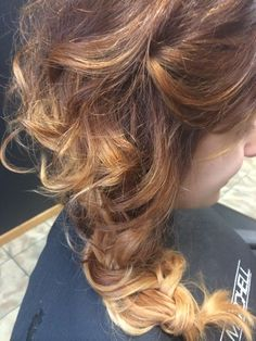 Side swept braid bridal updo curly hair