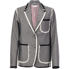 Thom Browne Frayed Edge Blazer (40.593.995 IDR) ❤ liked on Polyvore featuring outerwear, jackets, blazers, grey, gray blazer, grey blazer, thom browne, long sleeve jacket and long sleeve blazer
