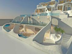 Tholos Resort SantoriniΣαντορίνη2016 - 2017ΙδιώτηςΟλοκληρώθηκε535 τ.μ. Dream House Interior, Dream Home Design, My Dream Home, Home Interior Design, House Design, Futuristic Architecture, Beautiful Architecture, Architecture Design, Future House