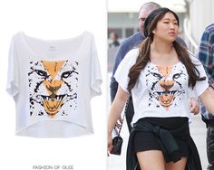 Jenna Ushkowitz and Michael Trevino arrive at a Lakers game, Los Angeles, April 7, 2013  Wildlife Works Cheetah Boxy Tee -   Worn with: Puma sneakers