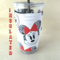 Minnie Mouse coffee cozy Straw cup cozy Travel by DeegeeMarieGifts