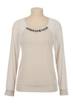 Jewel Neck Chiffon Sleeve Top (original price, $34) available at #Maurices