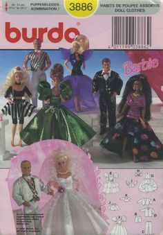 "Barbie™ Doll Clothes Sewing Pattern | Burda 3886 | Year 1994 | Doll Height 11½"" to 12¼"""