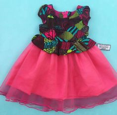 N/A Ankara Styles For Kids, African Dresses For Kids, African Fashion Dresses, African Attire, African Wear, Baby Girl Party Dresses, Girls Dresses, Baby Girl Fashion, Kids Fashion