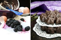 Chocolate Pavlovas and Chocolate Mascarpone Mousse and blackberry coulis