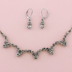 "17-20"" Silver Necklace & 1-1/4"" Earring Set"