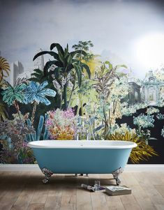 Want to create a feature wall in your bathroom? Transform your space into an urban jungle with statement wallpaper, and paint your Heritage cast iron bath to match! 🌴 Our free trends and inspiration guide is packed full of design ideas to help you plan your dream bathroom. Papier Paint, Heritage Bathroom, Stone Tub, Loft Interior, Cast Iron Bath, Roll Top Bath, Blue Bath, Blog Deco, Clawfoot Bathtub