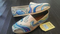 Octopus and ocean waves painted TOMS shoes by LaQuist - order by request at www.etsy.com/shop/laquist #laquist - visit www.laquist.com/gallery to see more custom painted TOMS, Converse, Vans, Keds, and wedges shoes by artist Lauren Rundquist.