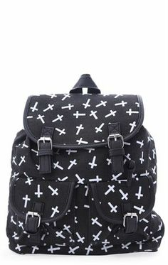 49494d94e2 Canvas Backpack with Cross Print and Two Front Pockets Deb Shops